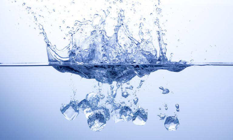 Water splash by ice