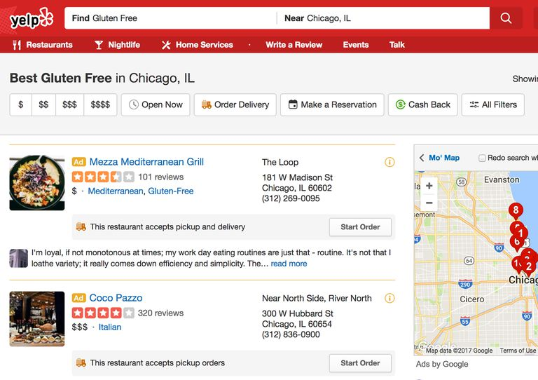 gluten-free listings on yelp