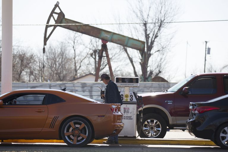 Oil Pump Behind Gas Station