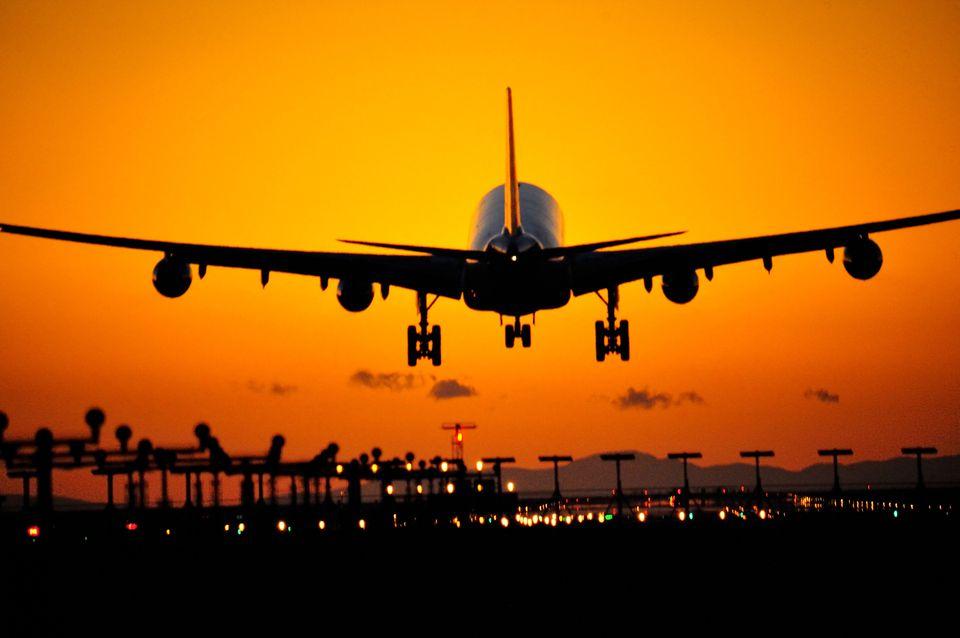 Plane landing at Vancouver International Airport