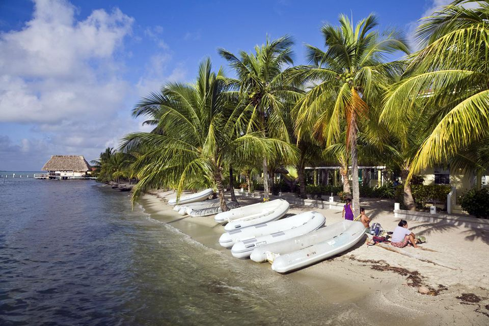 Belize, Placencia, The Moorings dingies on beach