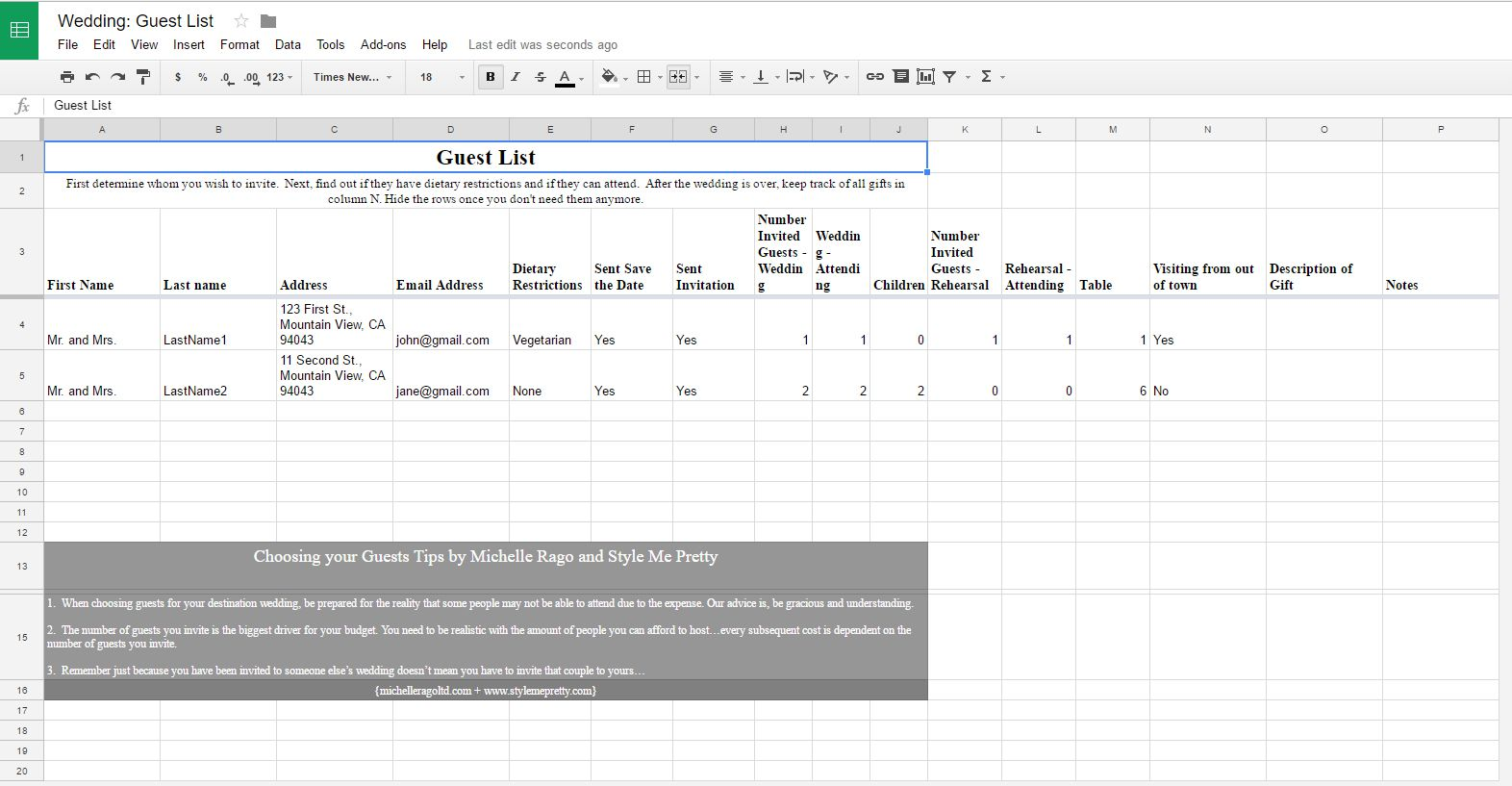 Wedding Guest Excel Template