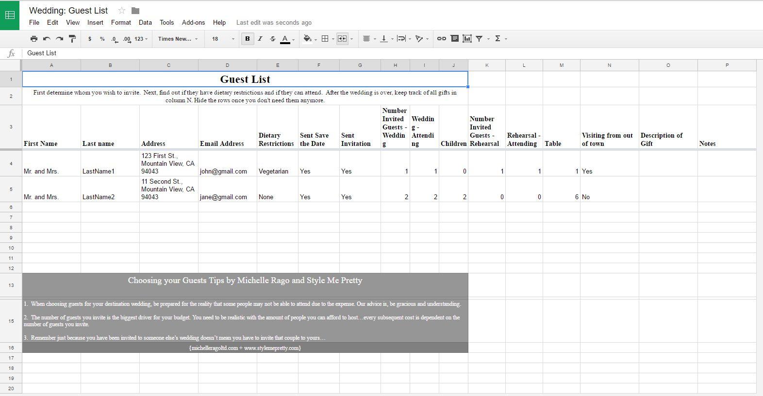 Wedding Guest Excel Template - mandegar.info