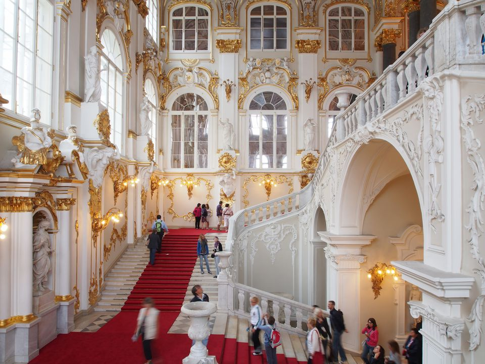 The main staircase at the Winter Palace. St. Peter