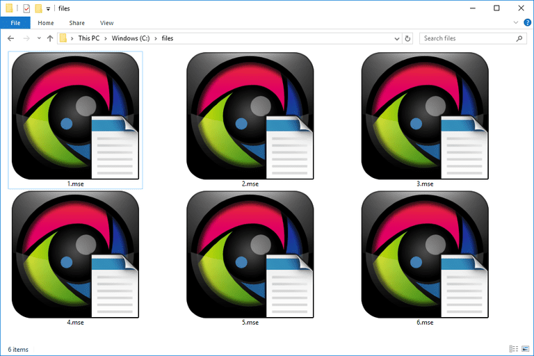 Screenshot of several MSE files in Windows 10 that open with MediaShow