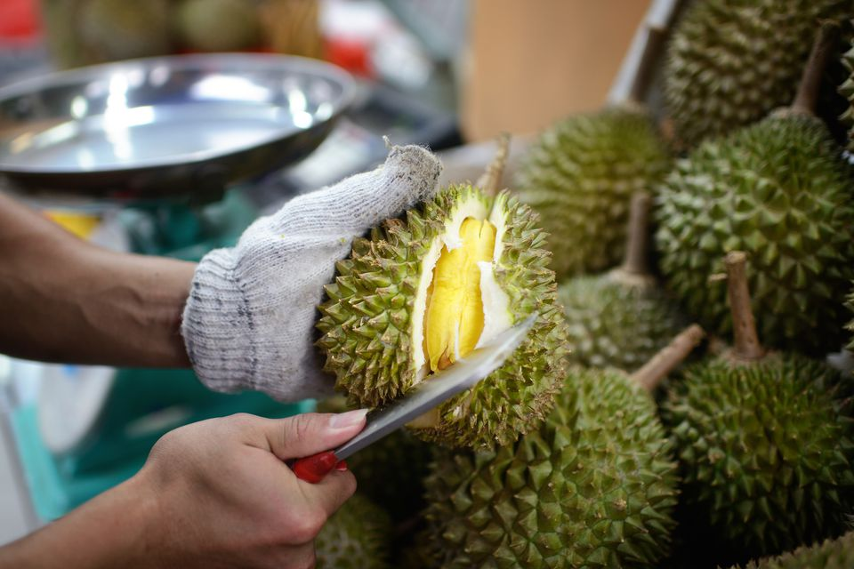 Fruit vendor opening a fresh durian