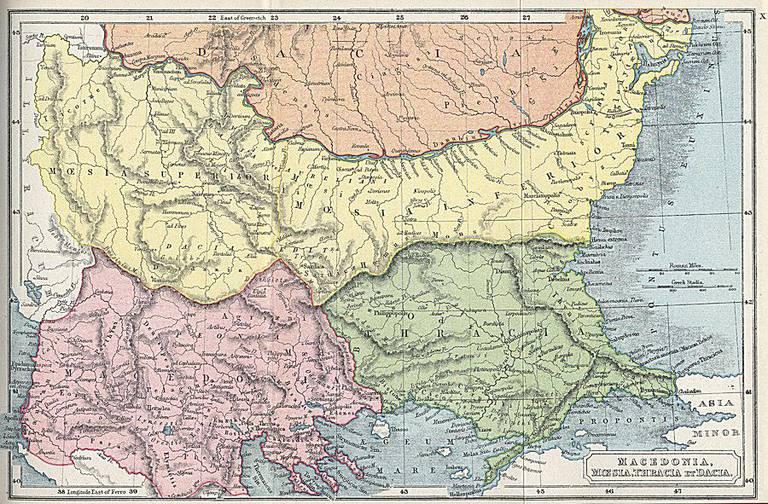 Map of Macedonia, Moesia, Dacia, and Thracia