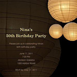 Light lanterns on a brown background with birthday details.