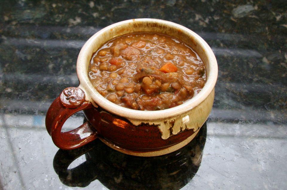 Lentil soup with sausage.