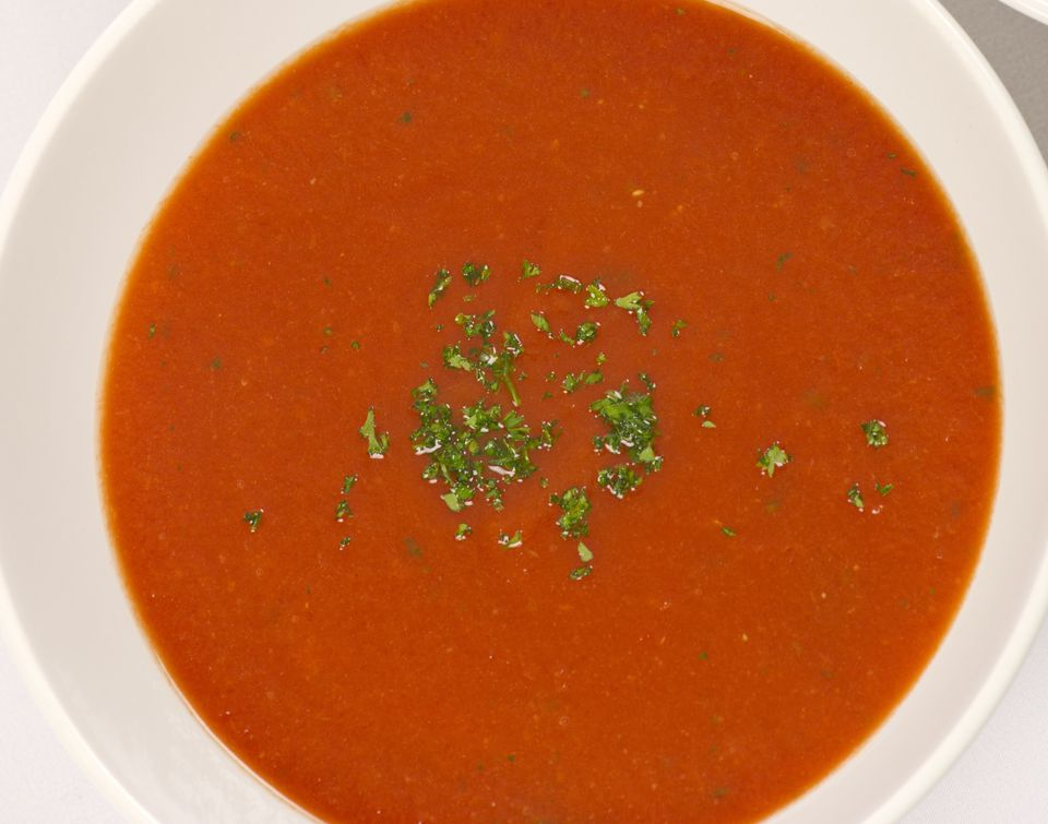Creamy roasted red pepper soup, vegetarian and gluten-free