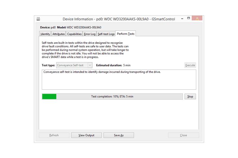 Screenshot of GSmartControl