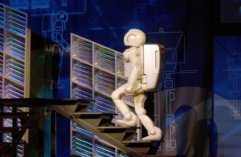 Honda's Humanoid Robot Asimo Demonstrates Bipedal Locomotion