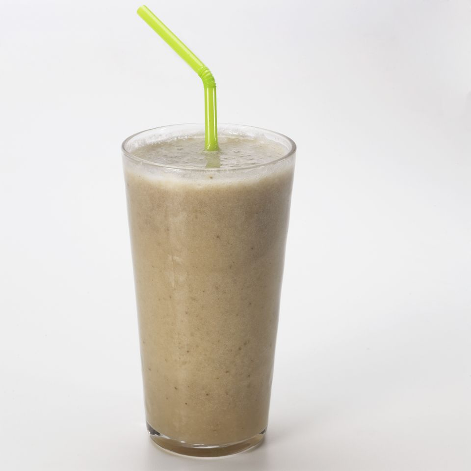 Close up of banana smoothie