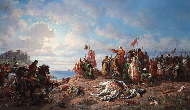 """Stanisław Chlebowski, """"The death of king Wladyslaw II at Varna"""", oil on canvas"""