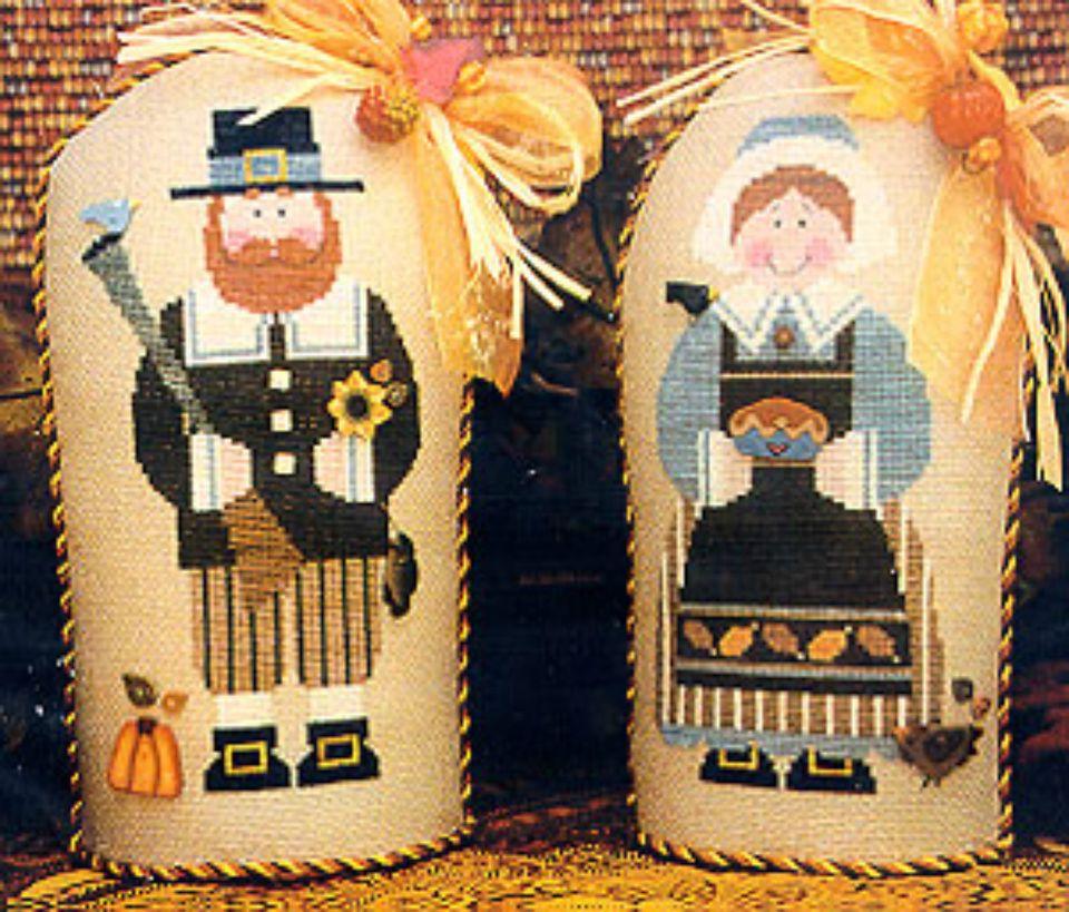 thanksgiving pilgrims cross stitch pattern