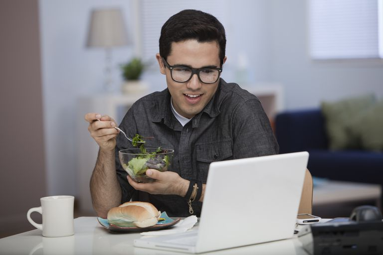 man eating lunch
