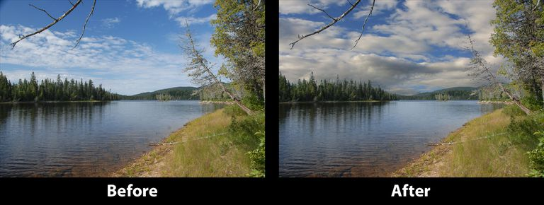 The original image is shown on the left and the completed image with new sky is shown on the right.