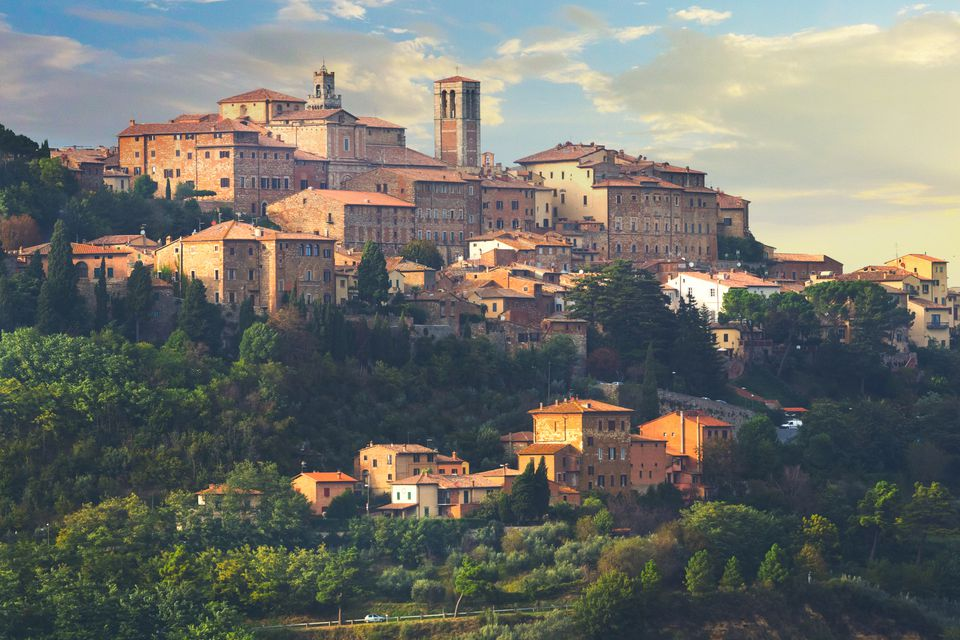 A panoramic view of Montepulciano in Tuscany