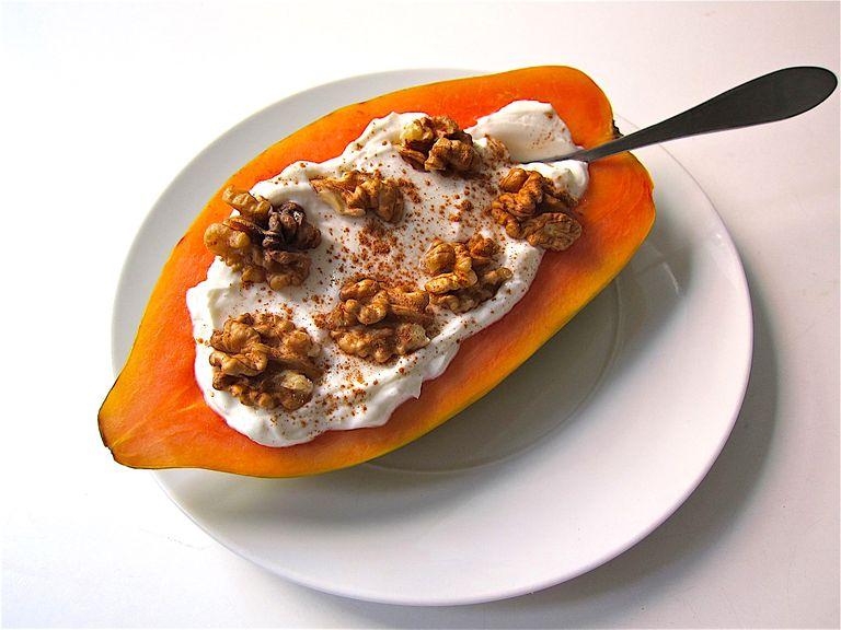 Filled Papaya Boat Snack