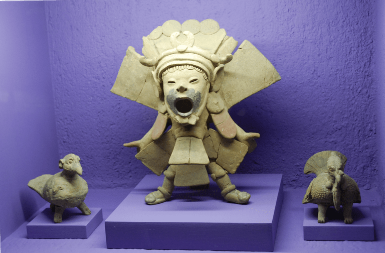 Priest with mask depicting Xipe Totec, at the Rufino Tamayo Museum of Pre Hispanic Art in Oaxaca, Mexico
