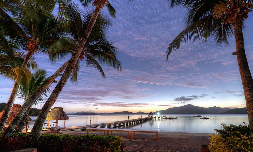 Night falls on beautiful Turtle Island Fiji resort