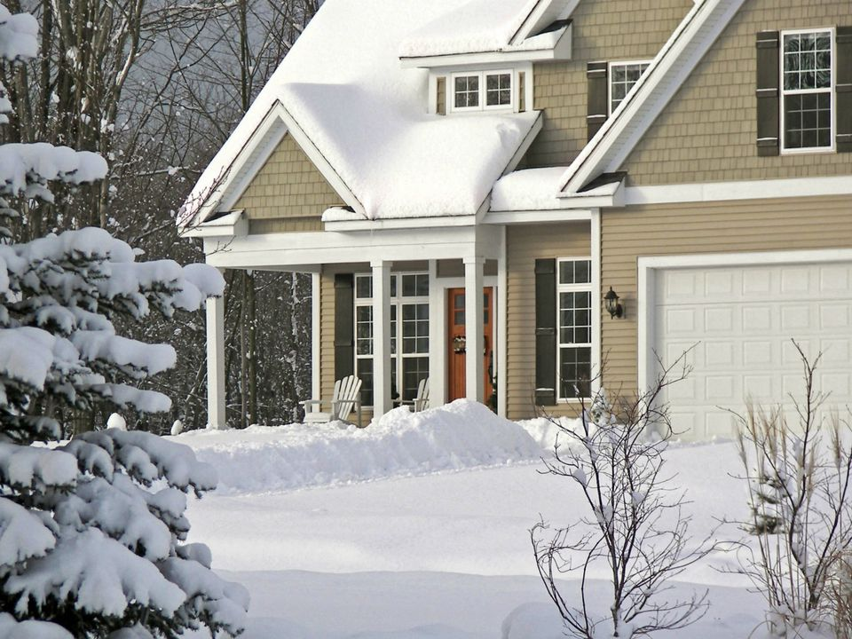 winter curb appeal snow porch