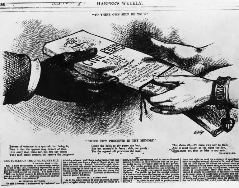 Old drawing of a pair of white hands placing a civil rights bill into the hands of a black person