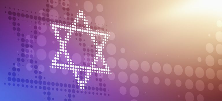 Star of David made from dots, reflected against a bright color gradient background