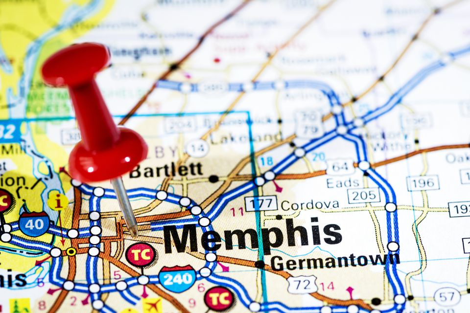 A red push pin in a map showing the city of Memphis