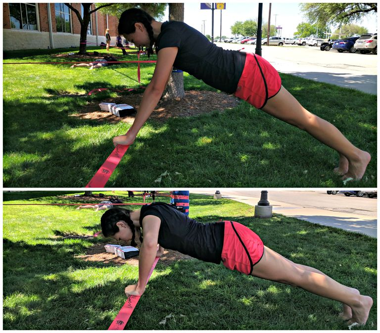 balance exercises on a slackline pushups