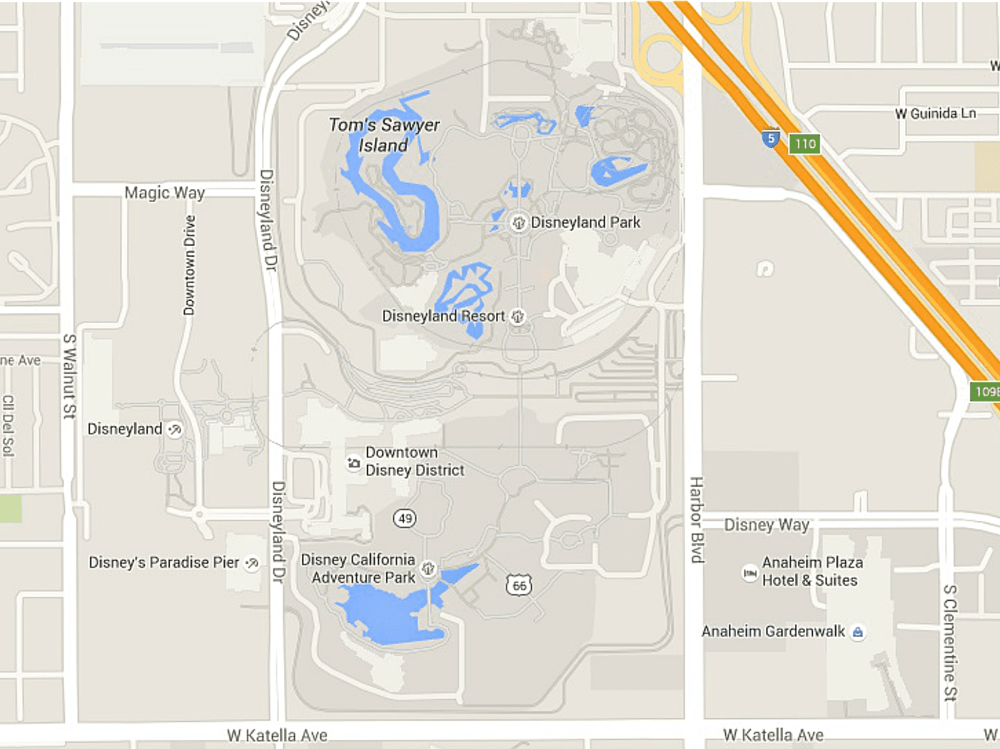 Maps of Disneyland Resort in Anaheim California