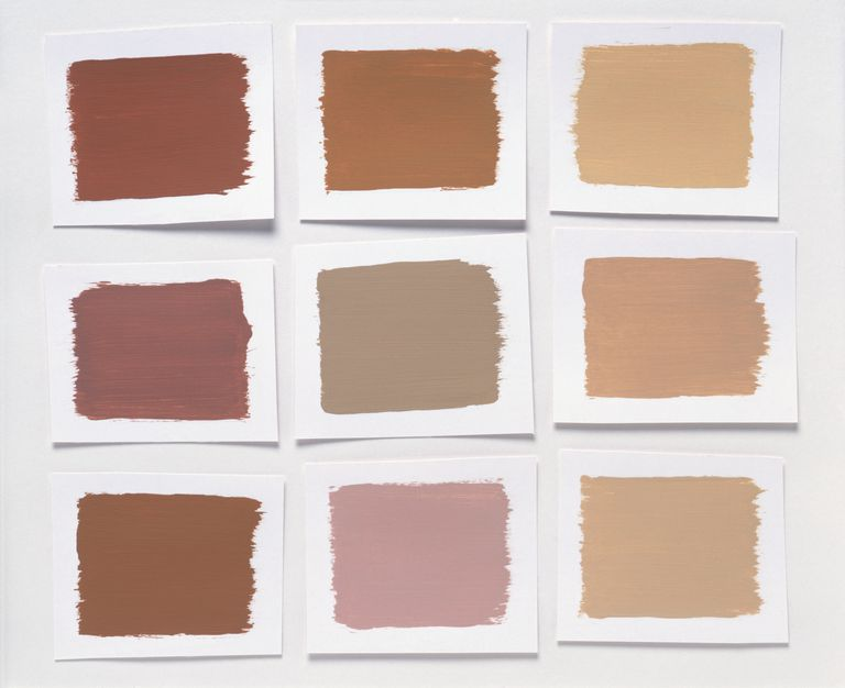 Shades of brown paint on a white background