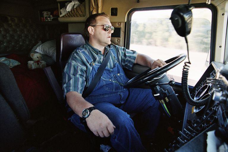 Trucker driving truck