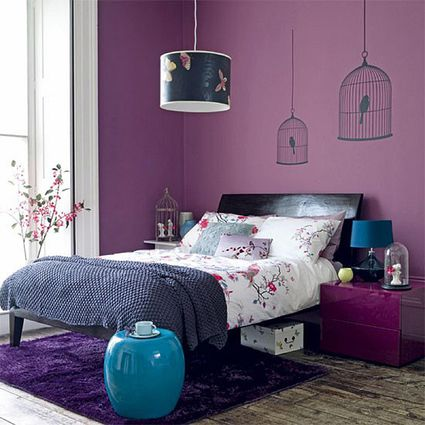Decorating the Bedroom with Green, Blue and Purple