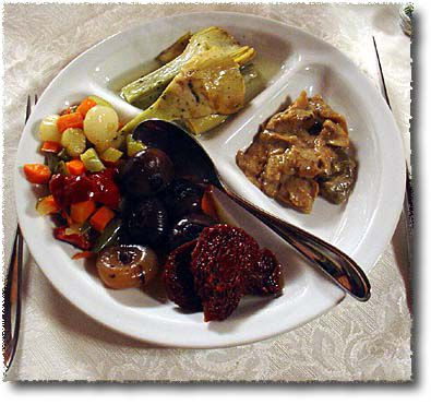 An Antipasto Misto: Mushrooms, picklres, artichokes, dried tomatoes and more