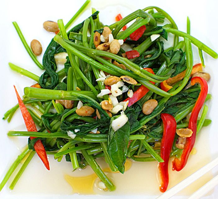 Stir-Fried Spinach with Garlic, Chili & Chopped Peanuts