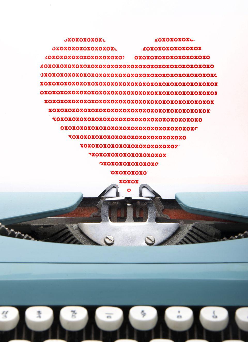 Typed heart of xoxo