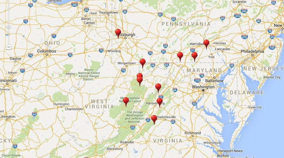 Ski Resorts Near Washington DC MD VA PA And WV - Map of us ski resorts