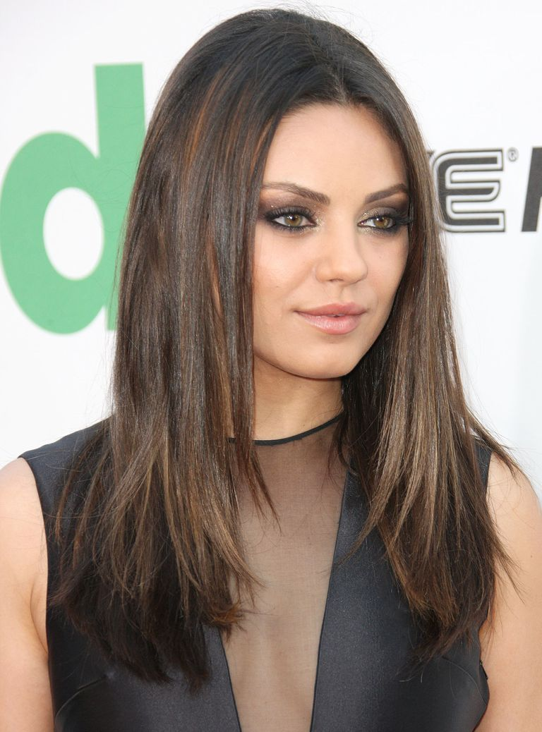 Mila Kunis Hair Long Straight Is Very Flattering On A Round Face