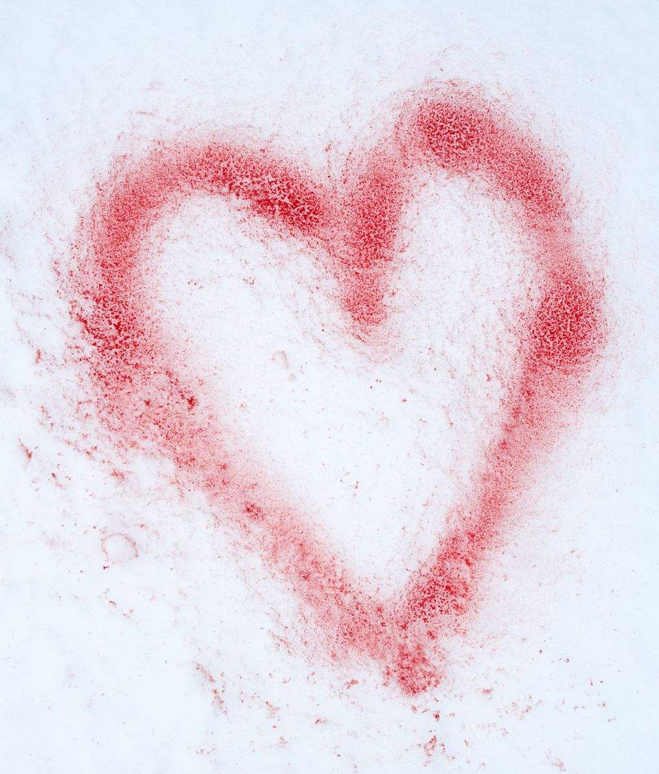 Heart Spray Painted in Snow