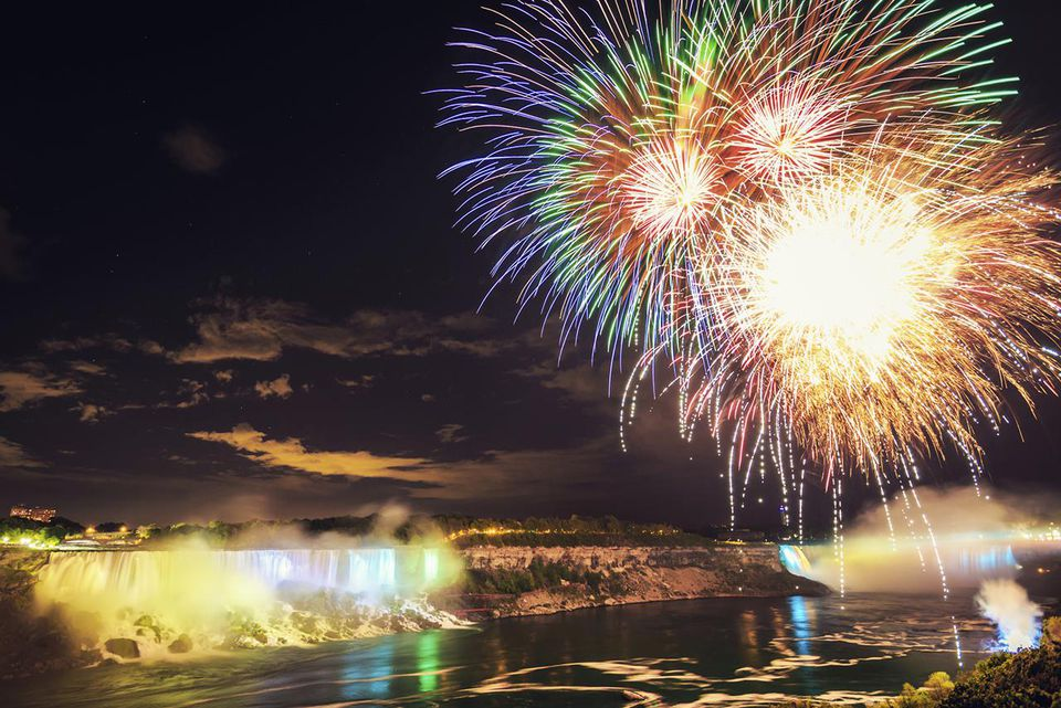 Colorful Fireworks at Niagara Falls Night Scene