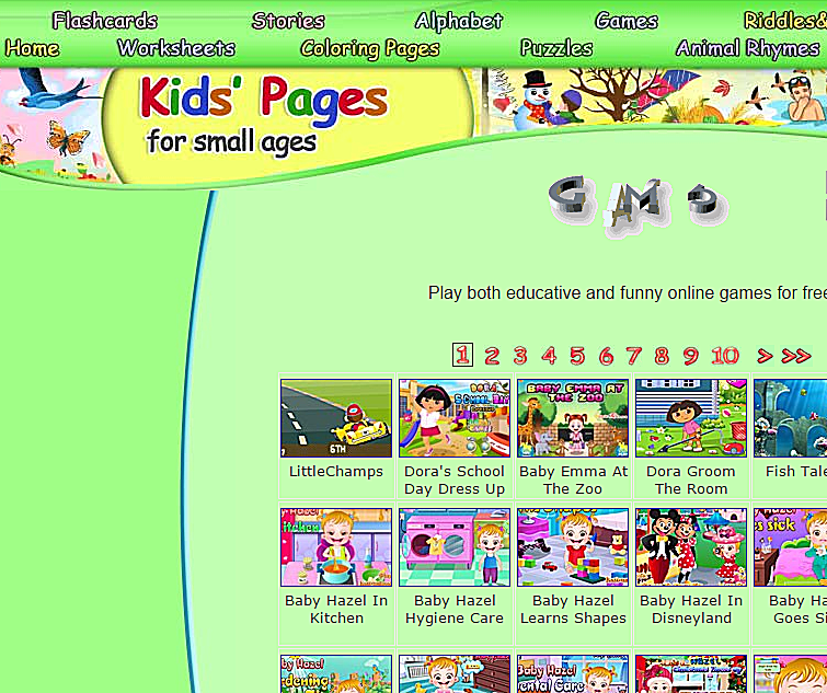 screenshot of free preschool games at kids pages
