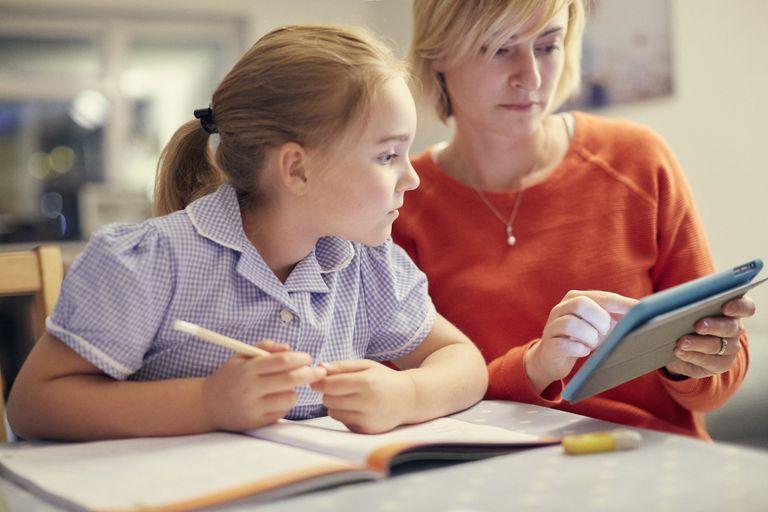 Mum and daughter doing homework