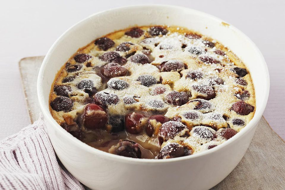 Cherry clafoutis in a bowl