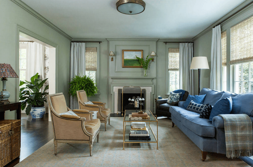 classic living room with seafoam walls - Clasic Living Room