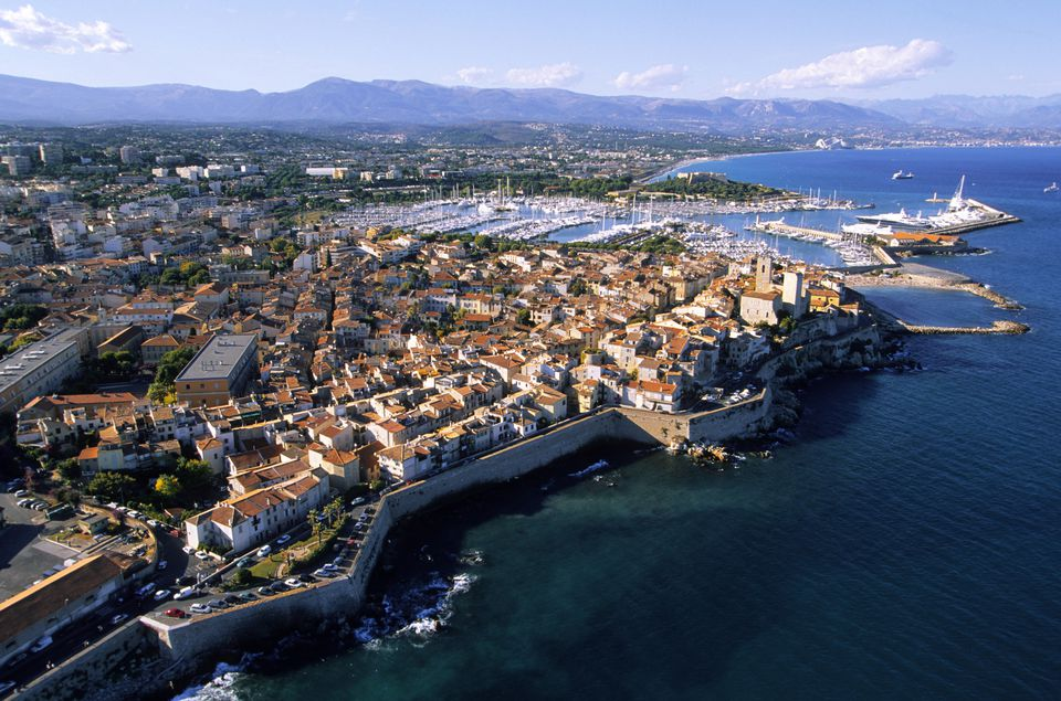 France, Alpes Maritimes, Antibes, the old town and the port (aerial view)