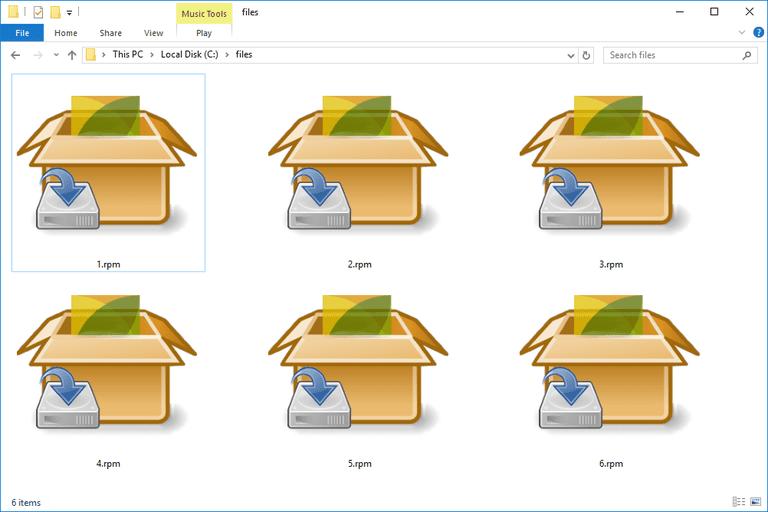 Screenshot of several RPM files in Windows 10