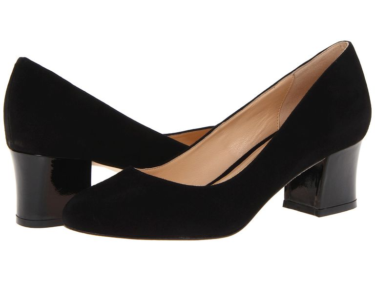 "Chic black pumps with suede uppers, almond toes, and 2"" wrapped, chunky heels."