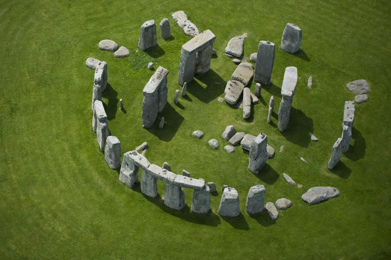 aerial view of scattered megalithic stones scattered in a circle