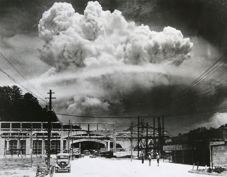 A photograph of the atomic bomb dropped in Nagasaki shows how it exploded 50m above ground on August 9, 1945 in Nagasaki, Japan64.jpg